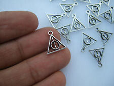 20 x Small Deathly Hallows Symbol Sign Tibetan Silver Charms Pendants Beads 13mm