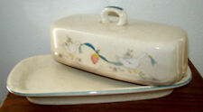 International Marmalade Geese Ribbon Fruit Butter Dish with Lid Stoneware 1997