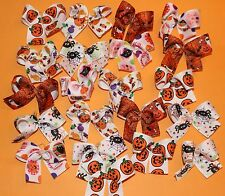 20 Medium Halloween Dog Bows Dog Grooming Bows Hand Made USA Child Bows Quality