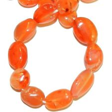 NG2925f Red-Orange Carnelian 7-12mm Flat Oval Nugget Agate Gemstone Beads 13""
