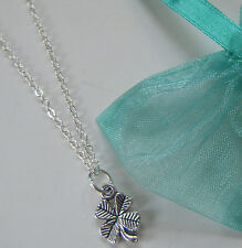 4 Leaf Clover Charm Necklace Good Luck Lucky Gift Wedding Uni Travel Exams Test