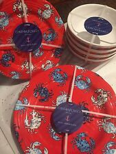 Cynthia Rowley Melamine Red White Blue Crabs Dinnerware Set 12 Plates Bowls Side