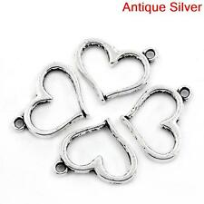 Lo of 10 Pieces Antique Silver Hollow Heart Charm Pendant