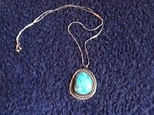 """Sterling Silver """"Vintage"""" (Navajo) Turquoise Pendant w/Chain"""