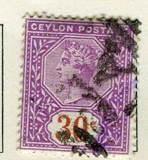 CEYLON;  1893 early classic QV issue fine used 30c. value