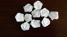 Fabric,White - Satin Ribbon Roses - Appliques,Trimmings,Wedding 2cm x 10