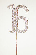 Number 16, Large Diamante Cake Topper. Stunning for Birthday Celebration Cakes