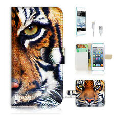iPod Touch iTouch 5 Print Flip Wallet Case Cover! Tiger Face P0029