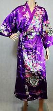 (810209)Purple Ladies Long Silk Satin Feel Kimono Robe Dressing Gown 12-18 UK