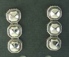 NEW $350 Lagos Three Rock Drop Earrings 925 Silver Dangling 14k posts