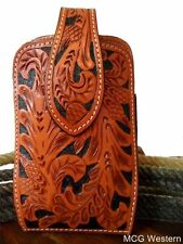 3D Western Large Smart Cell Phone Holder Filigree Floral Tooled Leather PH653