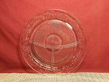 """Vintage Indiana Glass Daisy Clear Pattern Divided Grill Dinner Plate 10 3/8"""""""