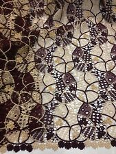 "BURGUNDY GOLD EMBROIDERY W/BEADS FRENCH LACE FABRIC 45"" WiIDE 1 YD"