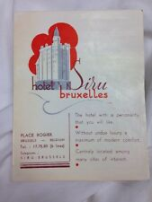 SIRU Hotel old luggage label BRUSSELS Belgium