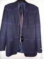 "New ""PAUL SMITH"" Navy and Purple 'Windowpane' Check Blazer / Jacket - Size 40"