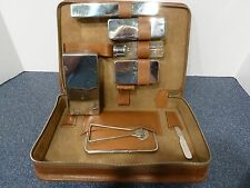 Antique Men's Leather Case Toilet/Grooming Kit Chrome Fittings Military WW II