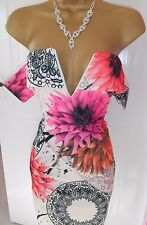 Sexy Pink Floral Summer Holiday Ibiza Miami Party Dress - Size 10 BNWT