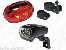 KIT Fanale Anteriore Portapacchi + Posteriore Bici MTB + City Bike 5 LED