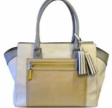 COACH Legacy Leather Medium Colorblock Candace Carryall in White/Parchment 19909