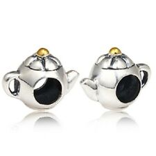 TEAPOT GOLD PLATED Genuine 925 sterling silver charm bead fits european bracelet