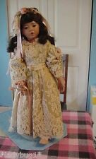 """VINTAGE~ 26.5"""" WHITNEY Doll by Donna Rubert w/OOAK Designer Antique Lace Dress"""