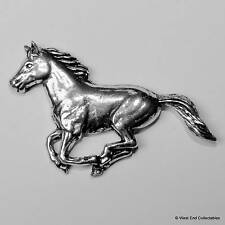 Galloping Horse Pewter Pin Brooch - British Hand Crafted - Stallion Equestrian