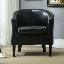 Modern PU Leather Tub Club Barrel Armchair Contemporary Upholstered Arm Chair