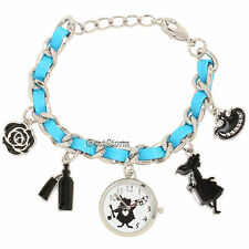 Disney Alice in Wonderland Cheshire Cat Rose Charms Bracelet Watch New In Box
