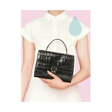 Aspinal of London Mayfair Bag in Black Deep Shine Croc