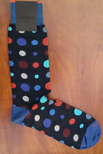 Duchamp London Men's Cotton Mix Socks Size Large Star Dot Reckitts Navy & Orange