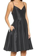 BNWT Ladies Black Spaghetti Strap Taffeta Dress HALSTON HERITAGE - sz 12