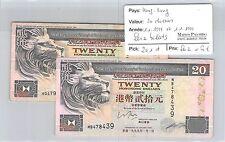 HONG KONG - 2 BILLETS DE 20 DOLLARS 1-1-1998 ET 1-1-1999
