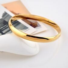 Fashion 18k Yellow Gold Filled Smooth Bangle Women/Men Bracelet Charms Jewelry