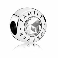 GENUINE AUTHENTIC PANDORA SILVER FAMILY FOREVER CHARM WITH CLEAR CZ 791884CZ