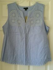J Crew Womens Embroidered circles sleeveless top french blue sz 12 #E9392 $98