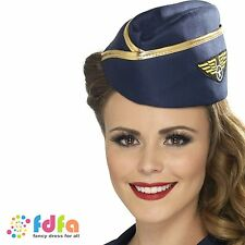 BLUE & GOLD AIR HOSTESS HAT CAP STEWARDESS - womens ladies fancy dress costume