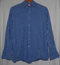 Michael Kors Mens Shirt Ocean Aqua Blue White Plaid Checkered 15 34/35 Cotton