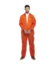 Orange Prisoner Inmate Jumpsuit Overall Fancy Dress Costume Outfit Adult Size