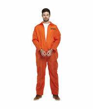 Orange prisonnier détenu combinaison overall costume fancy dress costume taille adulte