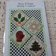 Merry and Bright Costers Mug Rugs Embroidery Design cd Janine Babich Design NIP