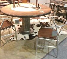 "55"" Round dining table marble stone center iron pedestal leg industrial design"