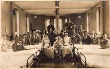 WW1 Wounded Soldiers in Hospital Nurses Military Army RP Postcard