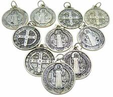 Set of 10 St Benedict Medals 7/8 Inch Metal Catholic Saint Pendant Bulk Lot Gift