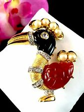 RARE SIGNED KENNETH J. LANE AMBER BLACK LUCITE FAUX PEARL DODO BIRD BROOCH