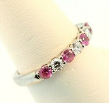 18K White Gold Diamond & Pink Sapphire Seven Stone Eternity Ring 0.50cts 2.5MM