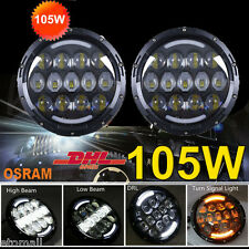 "Pair 7""INCH 105W LED Osram Headlight Hi/Lo Beam DRL for Jeep 97-2016 Wrangler JK"