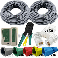 2x 80M Bulk RJ45 CAT5 Network Cable Tester Crimping Tool Stripper+Connector Boot