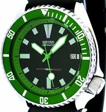 Vintage mens SEIKO diver 7002 mod w/all GREEN Plongeur hands/Bezel/Chapter Ring!