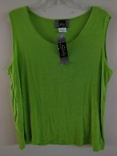 NWT Slinky Brand Tank Top Shirt Blouse XL 1X Travel Acetate SPANDEX Lime Green