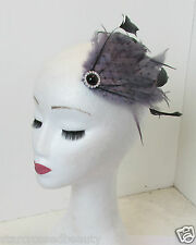 Grey Black Veil Net Feather Fascinator Hair Clip Headpiece Vintage Silver N72